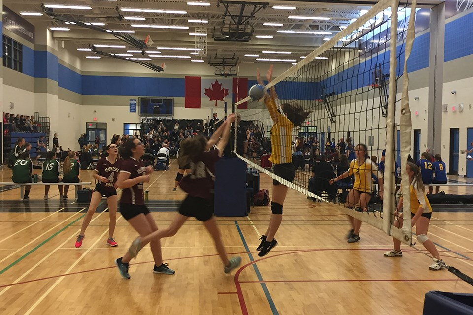 A member of the Korah Colts attempts a block against Blind River's École Secondaire Jeunesse-Nord during their opening game at the Superior Heights Invitational. Derek Turner/SooToday