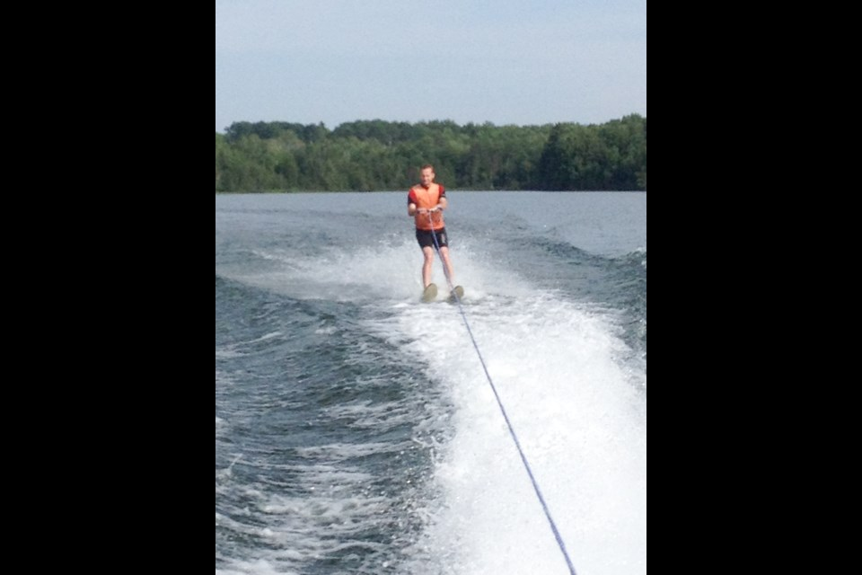 Michael Radtke water-skiing on Lake Superior yesterday. Jeff Klassen/SooToday
