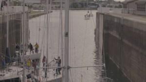 Sail boat racers make their way through the Sault locks