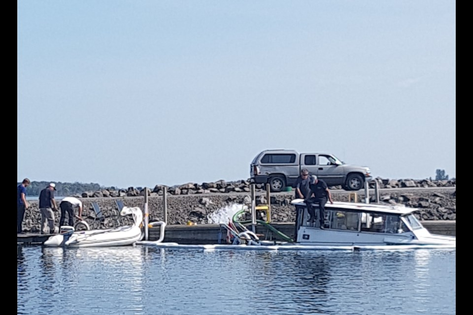 This boat sank and was refloated when it was launched at the Bellevue Marina in the afternoon of Wednesday, July 11. Reader submitted photo