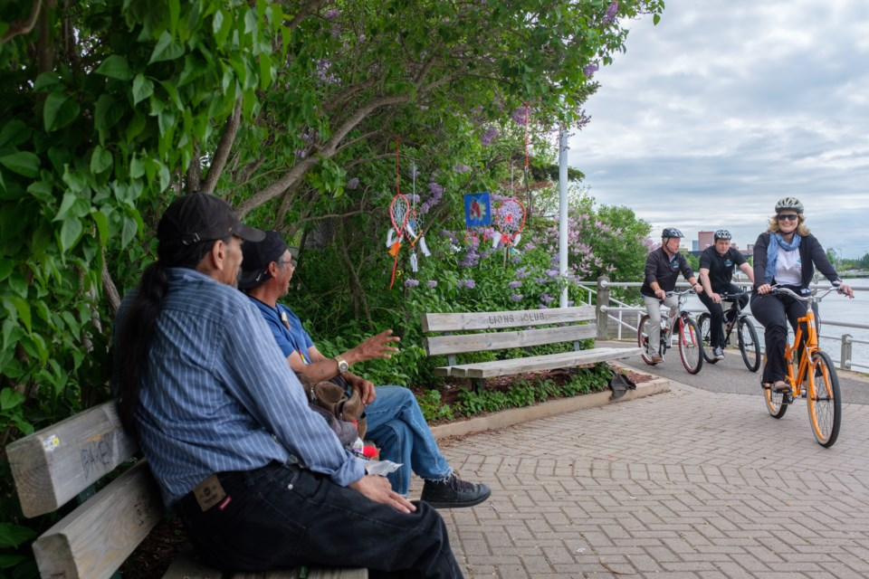 Dignitaries and others biked from city hall to Mill Square to celebrate the launch of the Lake Superior Water Trail and the Great Lakes Waterfront Trail on Friday. Jeff Klassen/SooToday