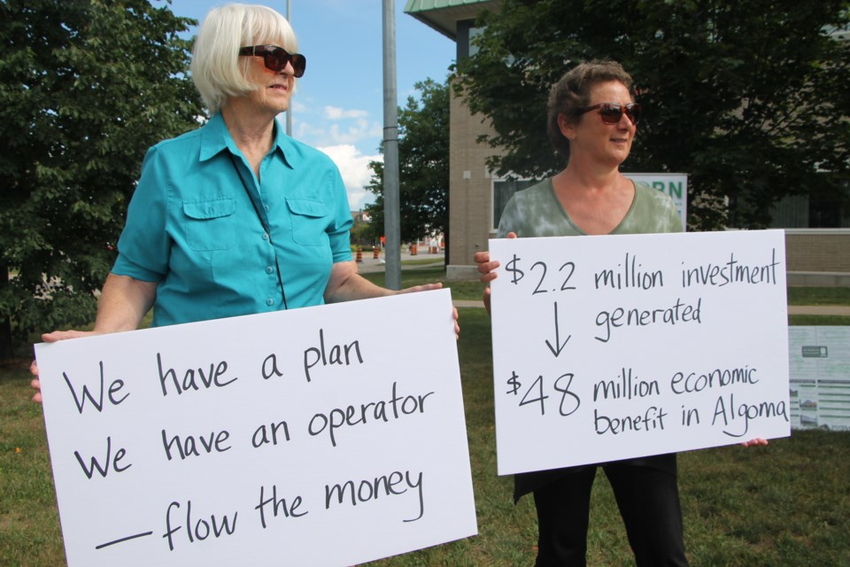 Passenger train lobbyists held a rally Monday, calling for the return of the Sault to Hearst passenger rail service, August 15, 2016. Darren Taylor/SooToday