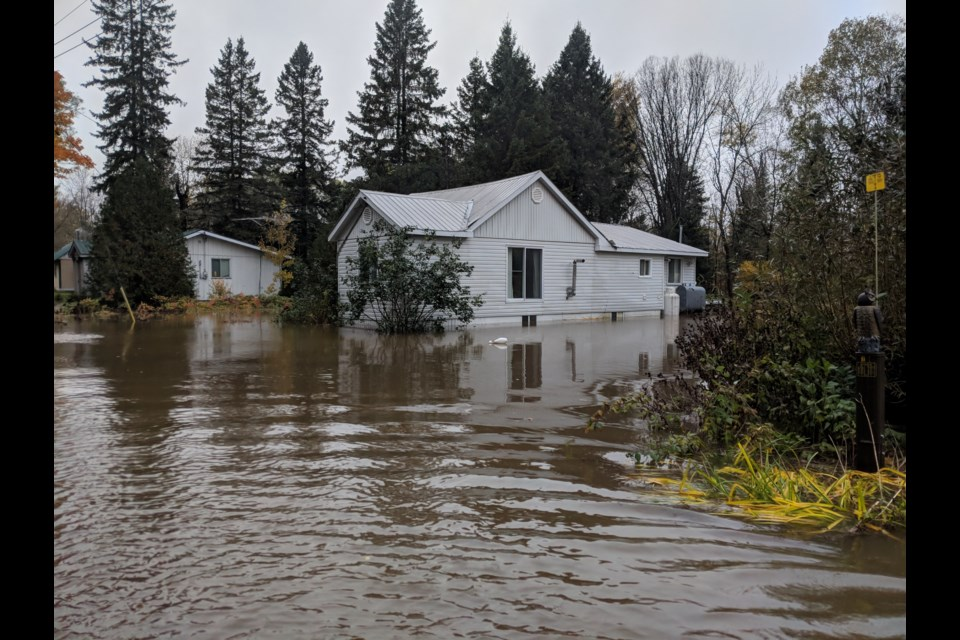 Water from the Goulais River is encroaching on homes in the Hult Road area.