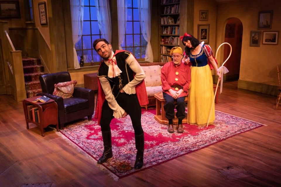 Dressed for a costume party, Spike (Jamie Cavanagh), Vanya (John Sproule) and Masha (Davian Stewart) have a few surprises in store in Shadow Theatre's season finale, Vanya and Sonia and Masha and Spike now on at the Varscona Theatre. MARC J CHALIFOUX PHOTOGRAPHY/Photo
