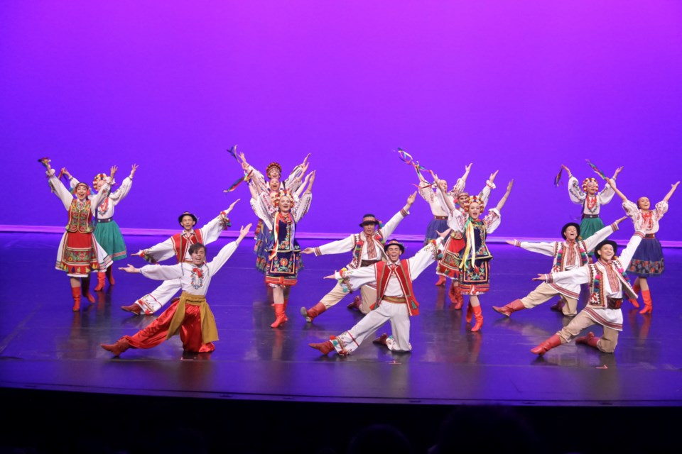 This group photo is of Cheremshyna, the junior ensemble a stepping stone away from Cheremosh Company. These young academy dancers perform a Pryvit or a welcome dance showcasing multiple regional dances in one performance. CHEREMOSH/Photo
