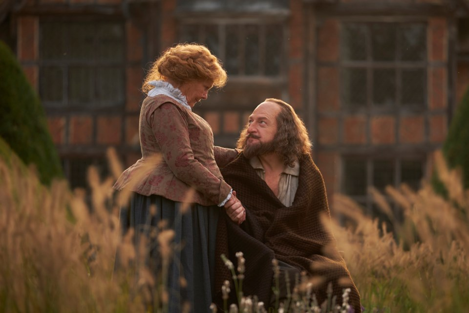 Anne Hathaway (Judi Dench) comforts her husband William Shakespeare (Kenneth Branagh) in Branagh's movie All is Lost.