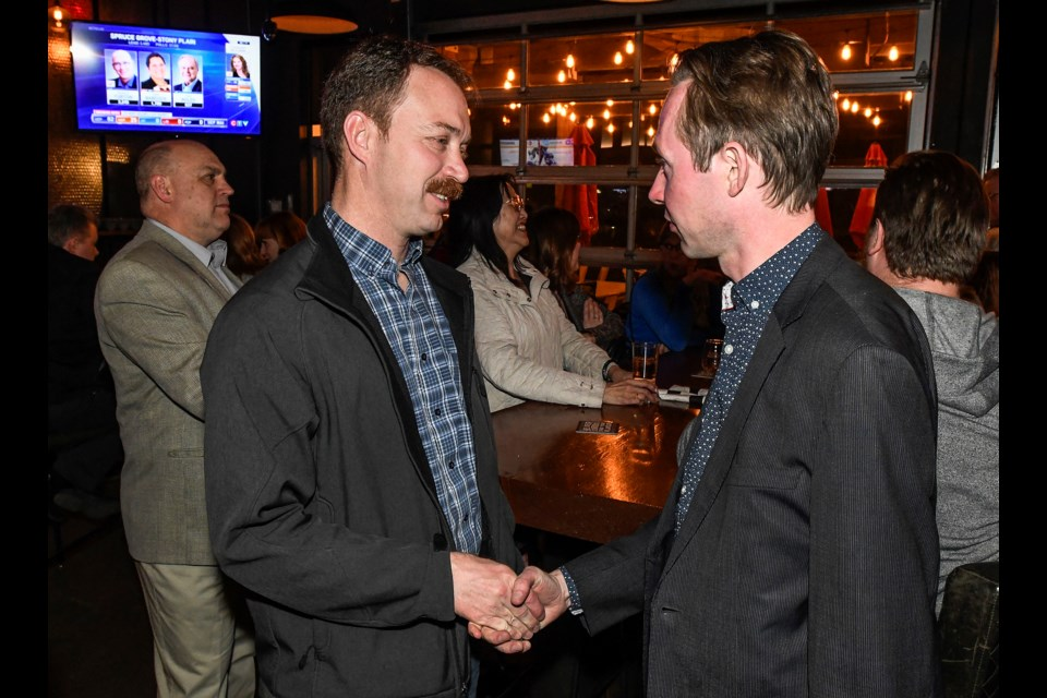 UCP candidate Jeff Wedman with Michael Cooper, MP St. Albert-Edmonton at Wedman's election night party in St. Albert April 16, 2019. DAN RIEDLHUBER/St. Albert Gazette