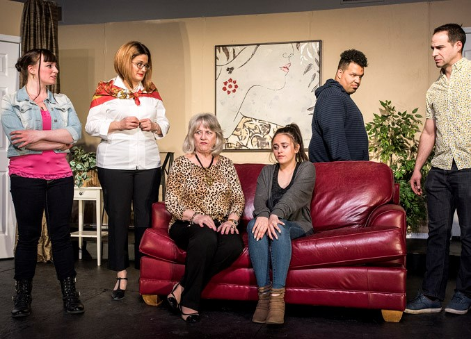 From left, the cast of Barely Heirs – Sarah Gibson as Claire, Christine Gold as Willamina, Joanne Poplett as Betty, Maya Molly as Jane, Colin Stewart as Paul and Omer Richard Aubin as Tom – in a scene from the St. Albert Dinner Theatre's season-closing production. It runs April 11 to 13, 18 to 20 and 25 to 27 at the Kinsmen Banquet Hall on Riel Drive. DAN RIEDLHUBER/St. Albert Gazette