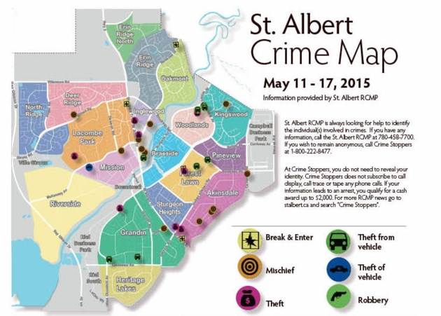 St Albert Map St Albert Crime Map   May 11   17, 2015   StAlbertToday.ca