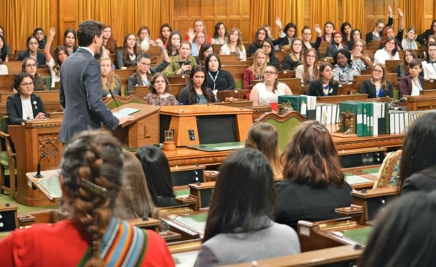 Prime Minister Justin Trudeau addressing Daughters of the Vote delegates in the House of Commons March 1 on International Women's Day.