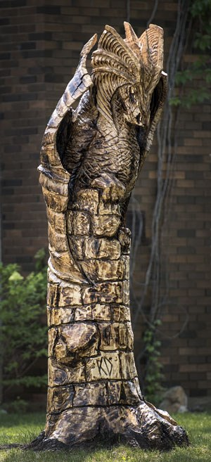 An enchanted forest of carved tree stump creatures sprouts in the uk