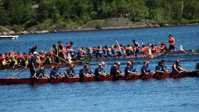A big crowd gathered at Bell Park on Saturday for the 16th edition of the Sudbury Dragon Boat Festival, which has raised more than $1.5 million for charities in the city. The weekend event raised between $40,000 and $50,000 for the Northern Cancer Foundation. Photos by Darren MacDonald.