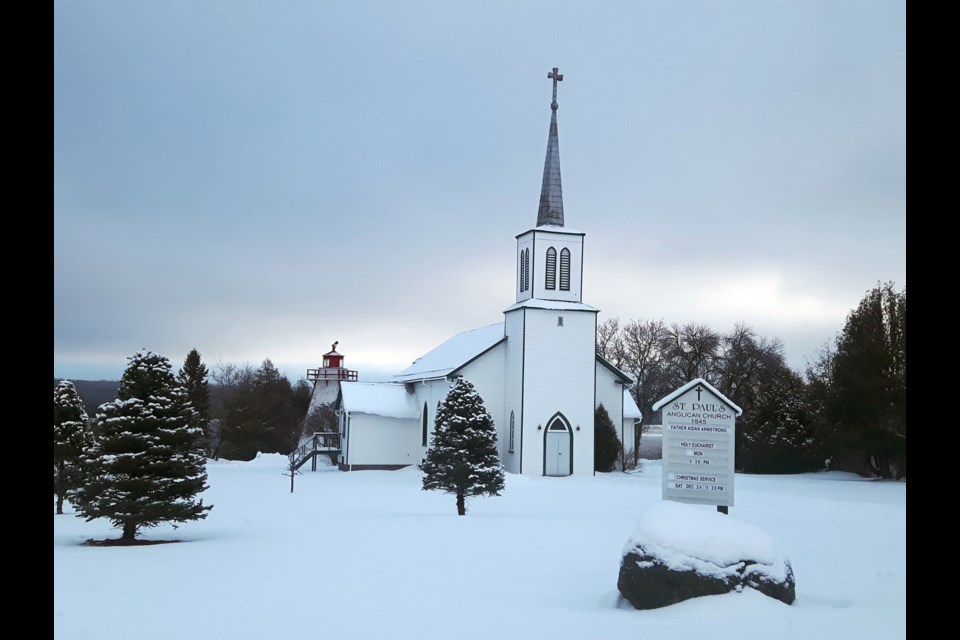 "André Perrin snapped of St. Paul's Anglican Church in Manitowaning on Manitoulin Island ""in a snowy wonderland."""