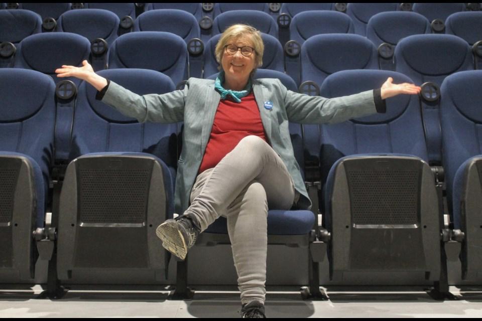 Sudbury Indie Cinema Co-op managing director Beth Mairs in the newly-installed seats. (Annie Duncan/Sudbury.com)