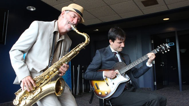 Jazz Sudbury announced the lineup for the 2019 Jazz Sudbury Festival which takes place Sept. 4-8. Director of the Laurentian University Jazz Combo Allan Walsh (left) and Jacob Starling celebrated the announcement with a performance at Science North. (Heather Green-Oliver/Sudbury.com)