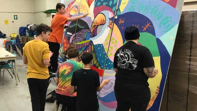 up here muralist works with cole secondaire hanmer students on school project. Black Bedroom Furniture Sets. Home Design Ideas