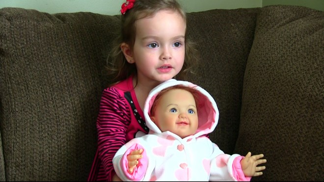 There's a realistic-looking Ashton-Drake Galleries doll that looks just like Savana Blanchette of Val Caron, now aged three. Screen capture