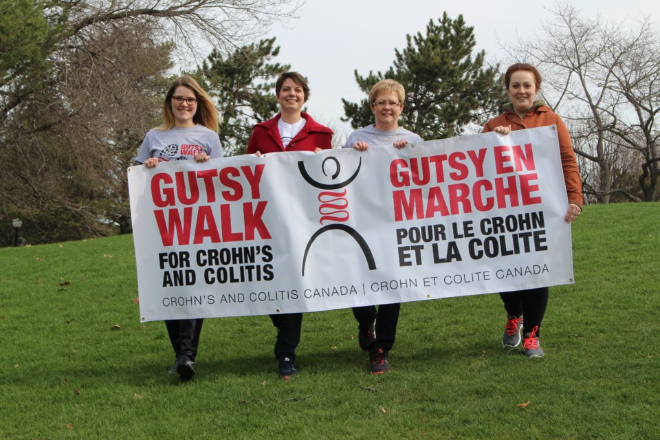 On June 4, Sudbury will join thousands of other Canadians in the Gutsy Walk in support of those impacted by Crohn's disease or ulcerative colitis. Sudbury Gutsy Walk media captain Lyndsay Moggy (left), Sudbury Gutsy Walk chair Sarah Lavoie, volunteers Lori Moggy and Steffany Burnes. (Heather Green-Oliver/Sudbury.com)