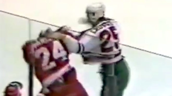 A screen capture from the first NHL fight between Bob Probert of the Detroit Red Wings and Troy Crowder of the Chicago Blackhawks. Crowder, now a PC candidate in Sudbury, found himself the butt of a strange Liberal attack on his fighting record this week. (YouTube.com/HockeyFights)