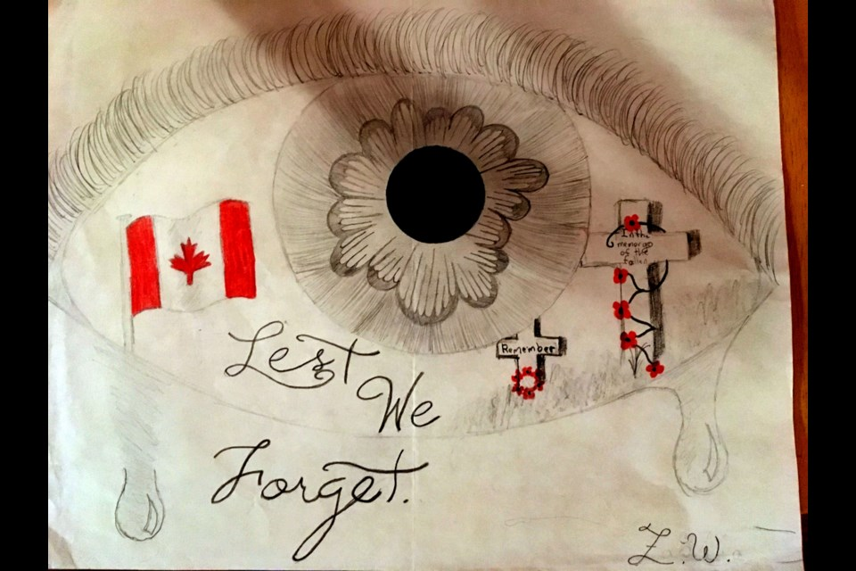 Zarra Williams is a Grade 9 student at Lasalle Secondary this year. Last year, when a Grade 8 student at Carl A. Nesbitt, she crafted this Remembrance Day drawing. Her mother, Melanie, decided to share the drawing with Sudbury.com this year in honour of Nov. 11.