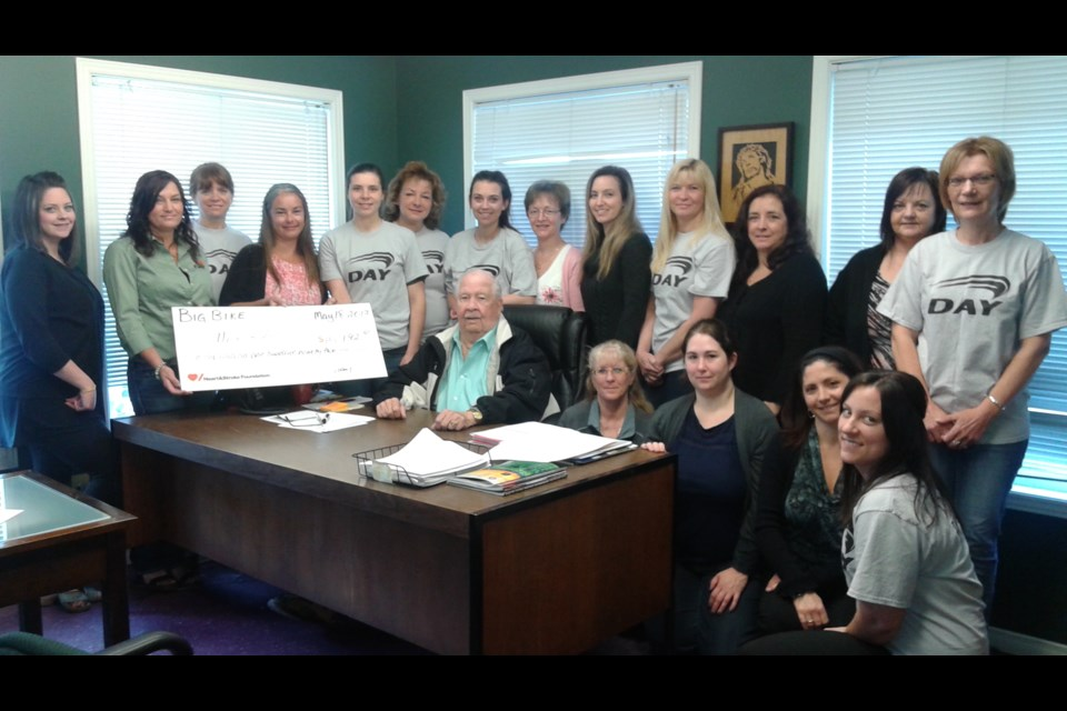 Day Construction raised $10,121 for Heart & Stroke Big Bike. (Supplied)