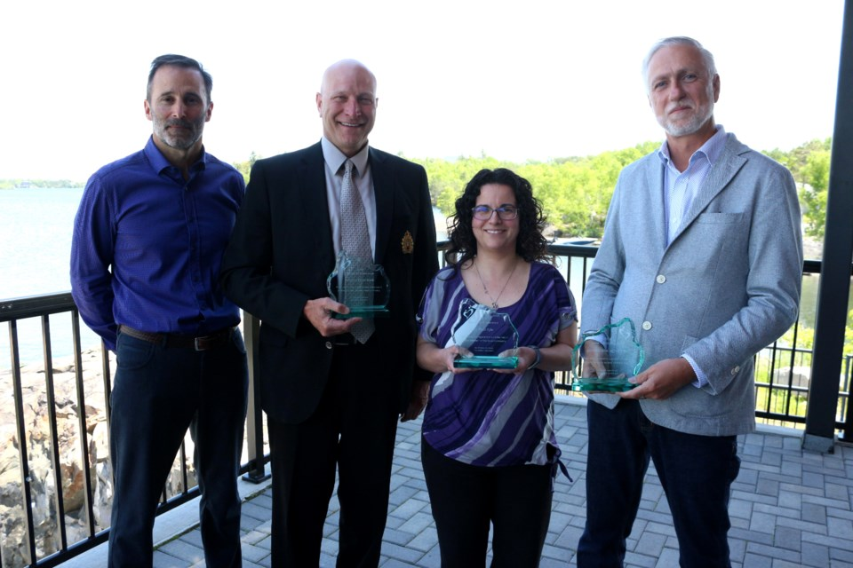 Our Children, Our Futures announced a new group of Champions for Children during a luncheon held at the Northern Water Sports Centre on June 14. Pictured left to right are honorary chair John Whitehead, Sudbury Food Bank chair of board of directors and Greater Sudbury Police Chief Paul Pedersen, Maria Vaillancourt on behalf of Dr. Paul Kyle's office, and Delta Bingo and Gaming general manager Denis Sivret. (Heather Green-Oliver/Sudbury.com)