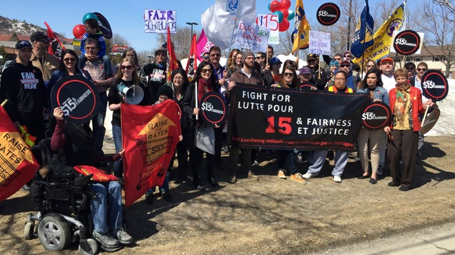 More than three dozen people participated in a $15 And Fairness Campaign demonstration outside Sudbury MPP Glenn Thibeault's Barrydowne Road office today at noon.