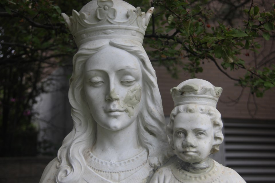 The head of baby Jesus on a statue at Ste-Anne-des-Pins church in downtown Sudbury that became the centre of an international media frenzy last fall has been reattached to the statue. (Heidi Ulrichsen/Sudbury.com)