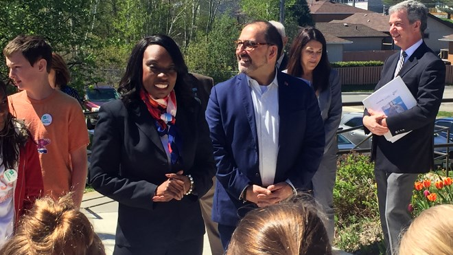 Ontario Education Minister Mitzie Hunter was joined by Energy Minister and Sudbury MPP Glenn Thibeault at École élémentaire catholique St. Dominique in Sudbury on Friday for a funding announcement. (Darren MacDonald)