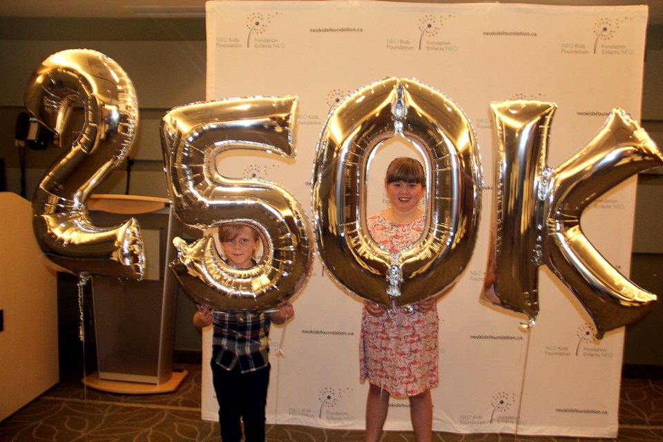 Davis Armstrong, 7, and Rilynn Mack, 9, helped reveal a large donation to NEO Kids by Scotiabank June 26. (Heidi Ulrichsen/Sudbury.com)