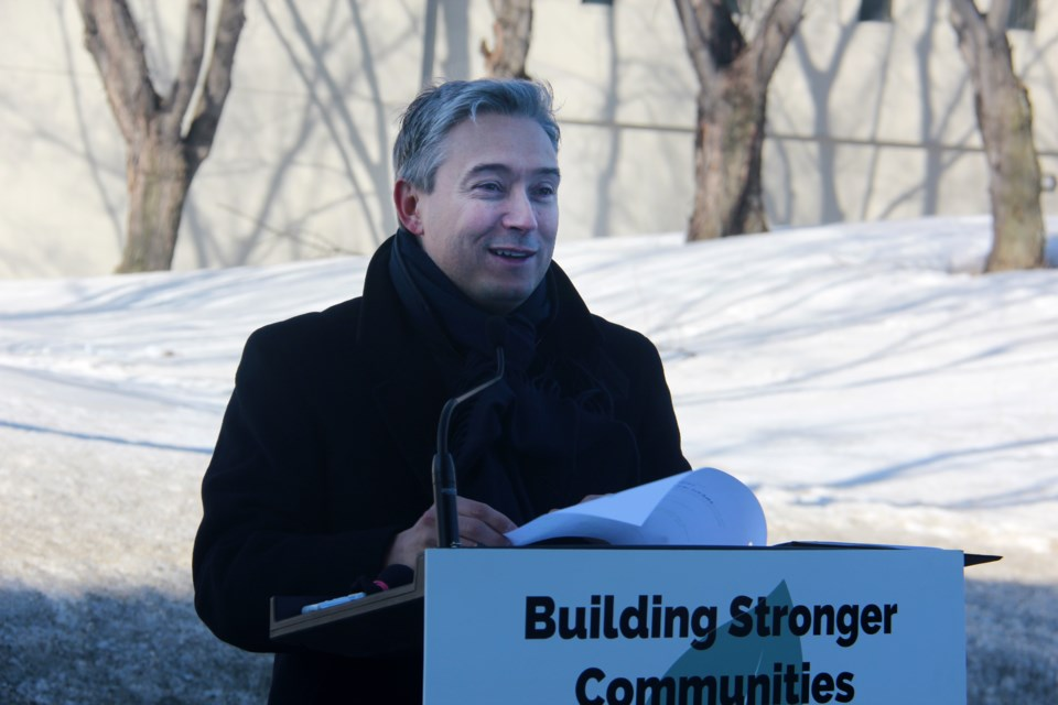 François-Philippe Champagne, federal minister of infrastructure and communities, speaks at a press conference in Greater Sudbury on Wednesday. (Heidi Ulrichsen/Sudbury.com)
