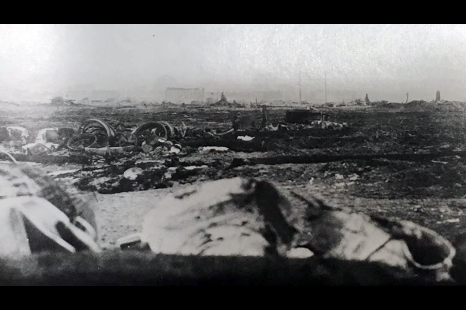 A scorched landscape can be seen in the aftermath of the deadly forest fire that roared through Matheson in 1916. (From 'Killer in the Bush' by Michael Barnes; image from the collection of K. Towsle)