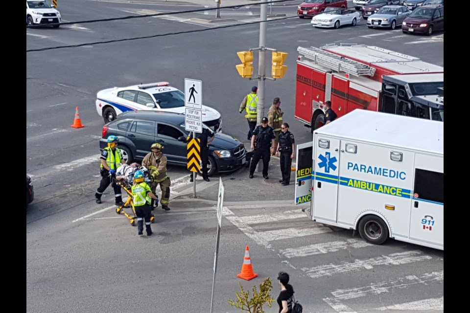 Reader Marc St. Louis captured these images of the single-vehicle crash on Paris Street late in the afternoon of May 17. (Marc St. Louis)