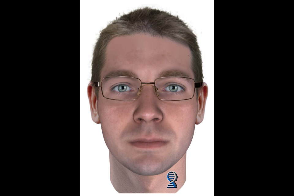 This is the new composite sketch of the Reneé Sweeney murder suspect produced by Parabon NanoLabs, a DNA technology company in Virginia, with its Snapshot NDA Phenotyping Service. Supplied image.