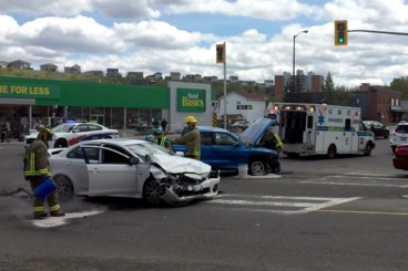 Woman fled scene of three-vehicle collision at Notre Dame and Kathleen
