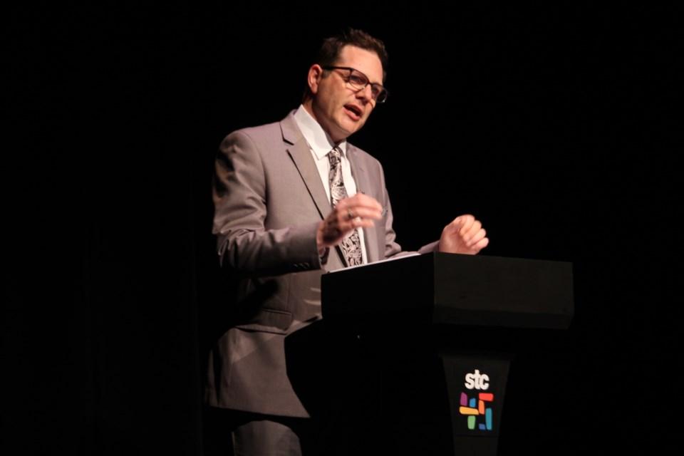 STC artistic director Caleb Marshall speaks during the theatre's 45th anniversary season launch on April 13. Photo: Matt Durnan