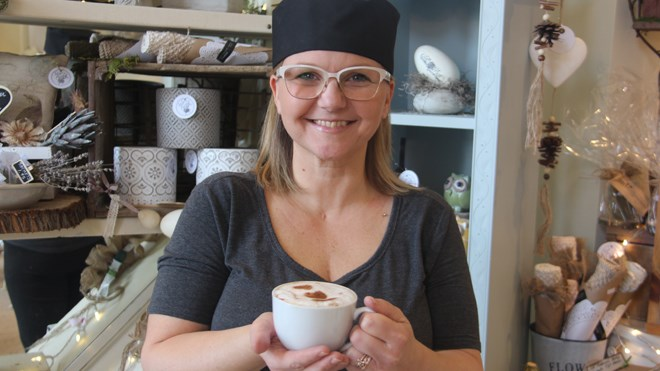 Suzette Peters opened The Cedar Nest Decor Cafe at 11 Cedar St. earlier this month. Photo by Heidi Ulrichsen.