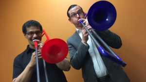 <b>Staff Tries:</b> Playing the trombone with one of The Smokers (video)