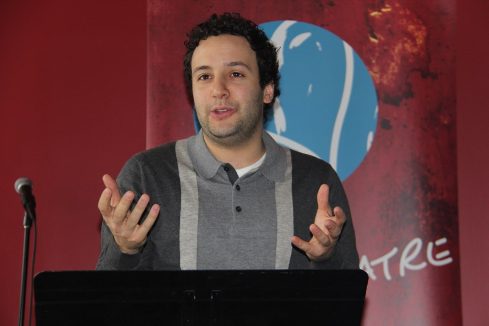 YES Theatre founder Alessandro Costantini speaks Dec. 6 at the launch of the company's ninth season. (Heidi Ulrichsen/Sudbury.com)