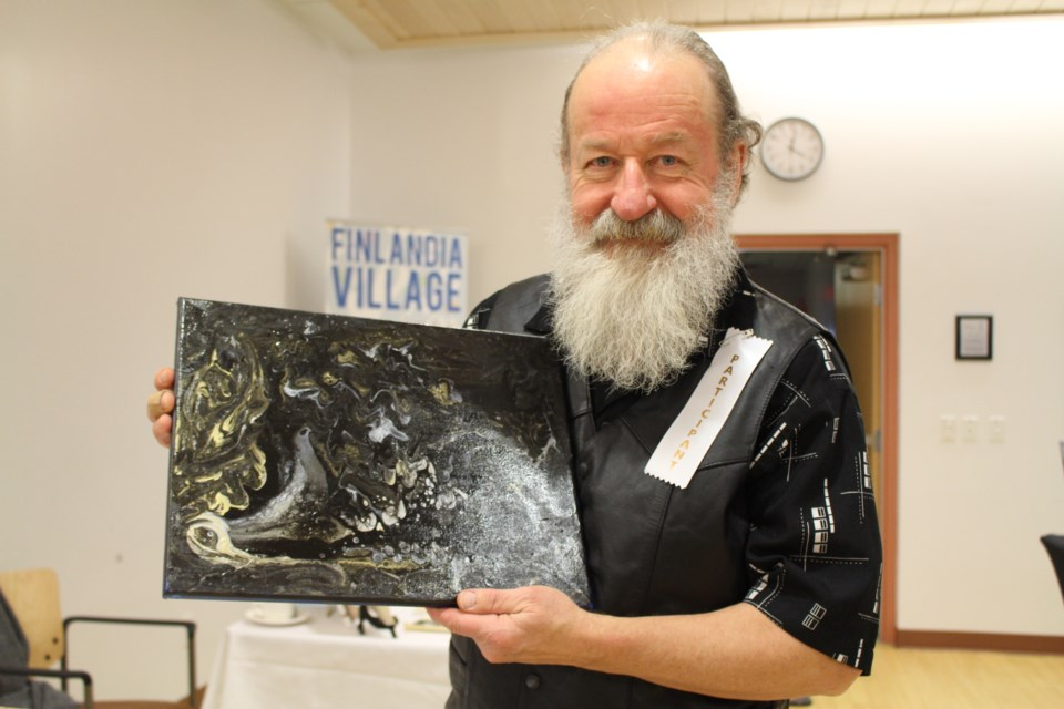 Finlandia resident Orest Solonyka completed this piece just days before the Art Show at Finlandia Village. Typically, Solonyka collects art instead of completing it, but he was happy to share his creative pursuits with friends on November 20, 2018. (Allana McDougall/Sudbury.com)