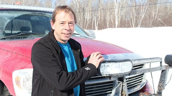 Good samaritan Roger Lauriault, with his trusty pickup truck (Keira Ferguson/ Sudbury.com)