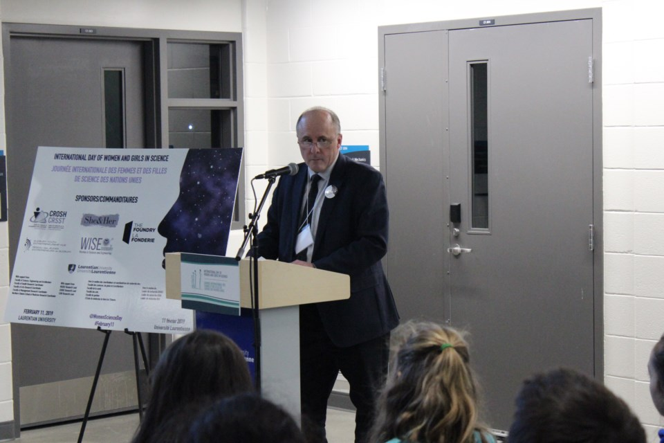 Pierre Zundel, interum President and Vice Chancellor of LU,  giving his opening statements at the Cliff Fielding building for International Day of Women and Girls in Science (Keira Ferguson/ Sudbury.com)