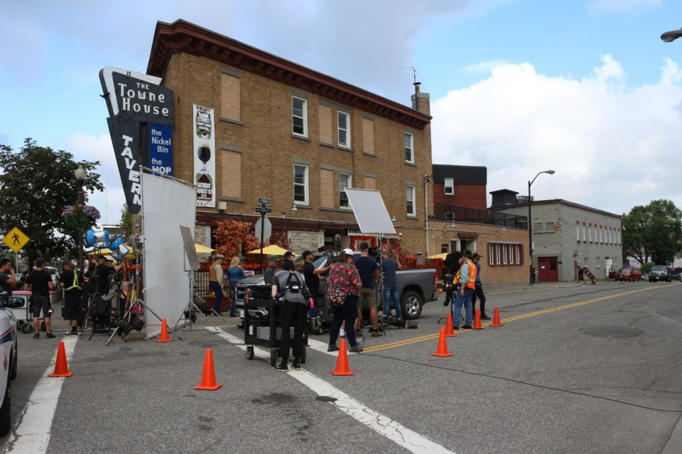 Crew on the set of  Country at Heart, a made-for-TV movie being filmed in Sudbury and Powassan. (Heather Green-Oliver/Sudbury.com)