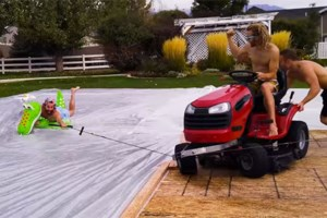 Friday fun moment: Lawn mower slip n slide