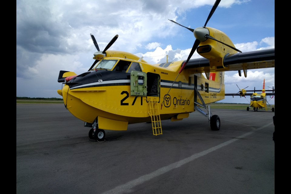 The Ministry of Natural Resources and Forestry has nine CL-415 water bombers it uses to combat forest fires across the province. On Wednesday three were stationed in Sudbury due to the high fire risk in the region. Photo by Jonathan Migneault.