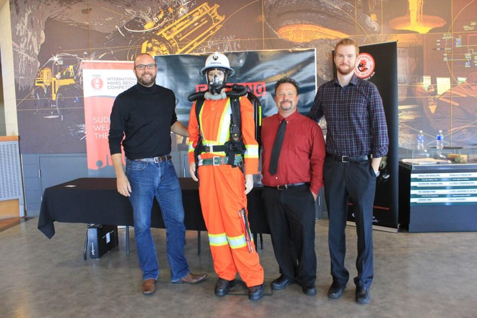 NORCAT's Don Duval, a FERDENO miner, NORCAT's Ed Wisniewski and Ontario Mine Rescue's Ted Hanley. Photo: Ella Myers