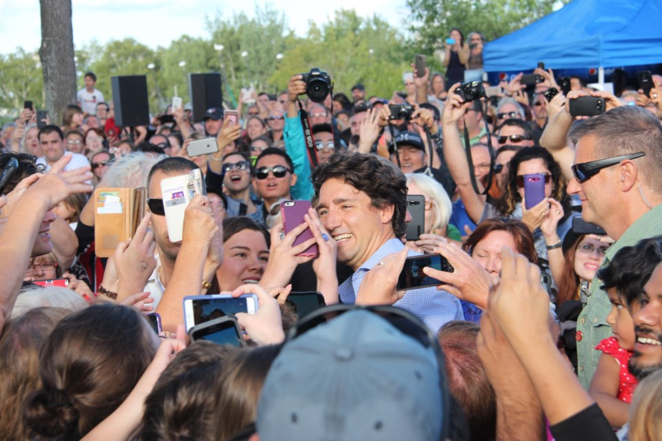 Thousands of Sudburians gathered at the grounds of Science North for Prime Minister Justin Trudeau's community BBQ on Aug. 22. Photo: Matt Durnan