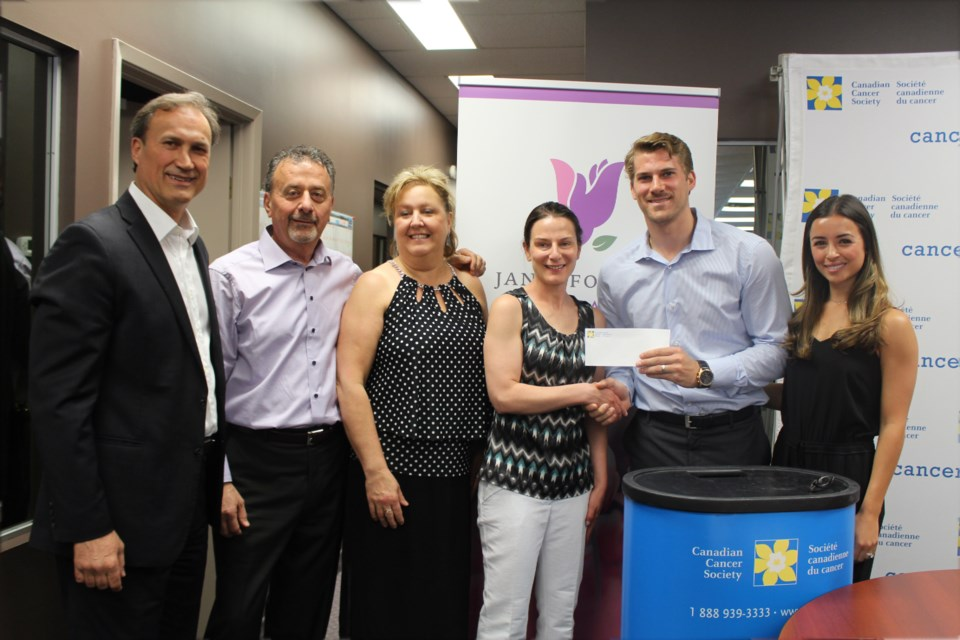 Meals on Wheels received a $10,00 donation from the Janis Foligno Foundation on June 8. On hand for the presentation was, from left, Mike Foligno, Junior and Leslie Moutsatsos owners of P&M's Kouzzina, Kelly Zinger executive director at Meals on Wheels, Marcus Foligno and his wife Nastascia. (Heather Green-Oliver/Sudbury.com)