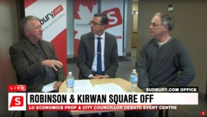 <updated> Watch:</updated> Robinson, Kirwan spar over event centre location