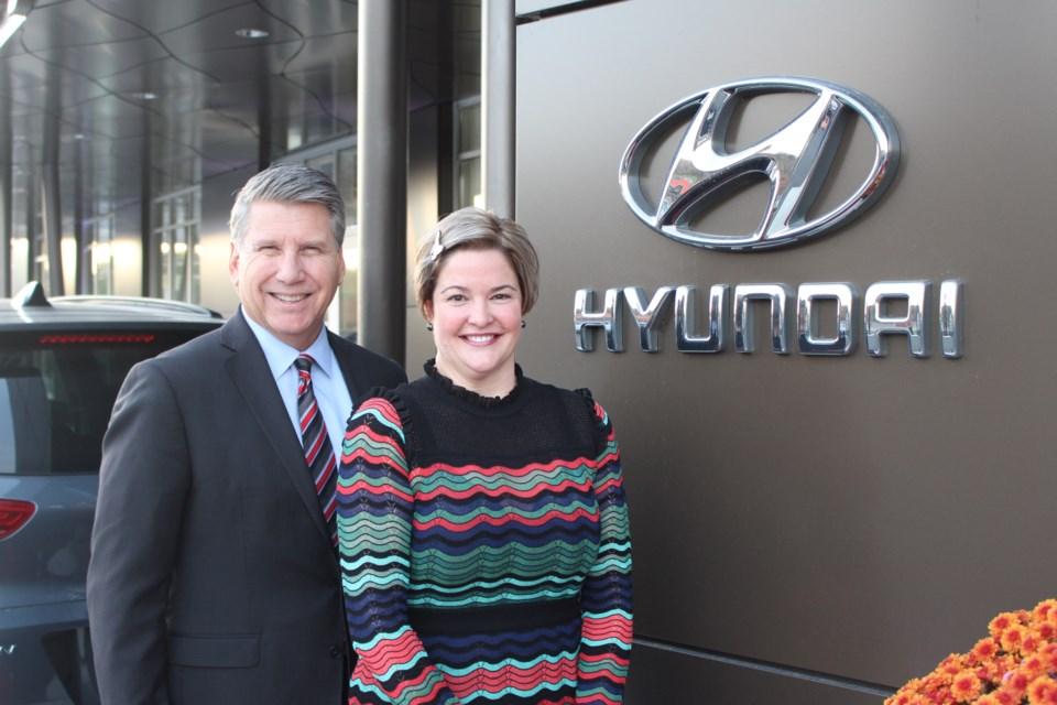 Hyundai Auto Canada president Don Romano with Sudbury Hyundai dealer principal Meredith Morris. (Photo: Matt Durnan)